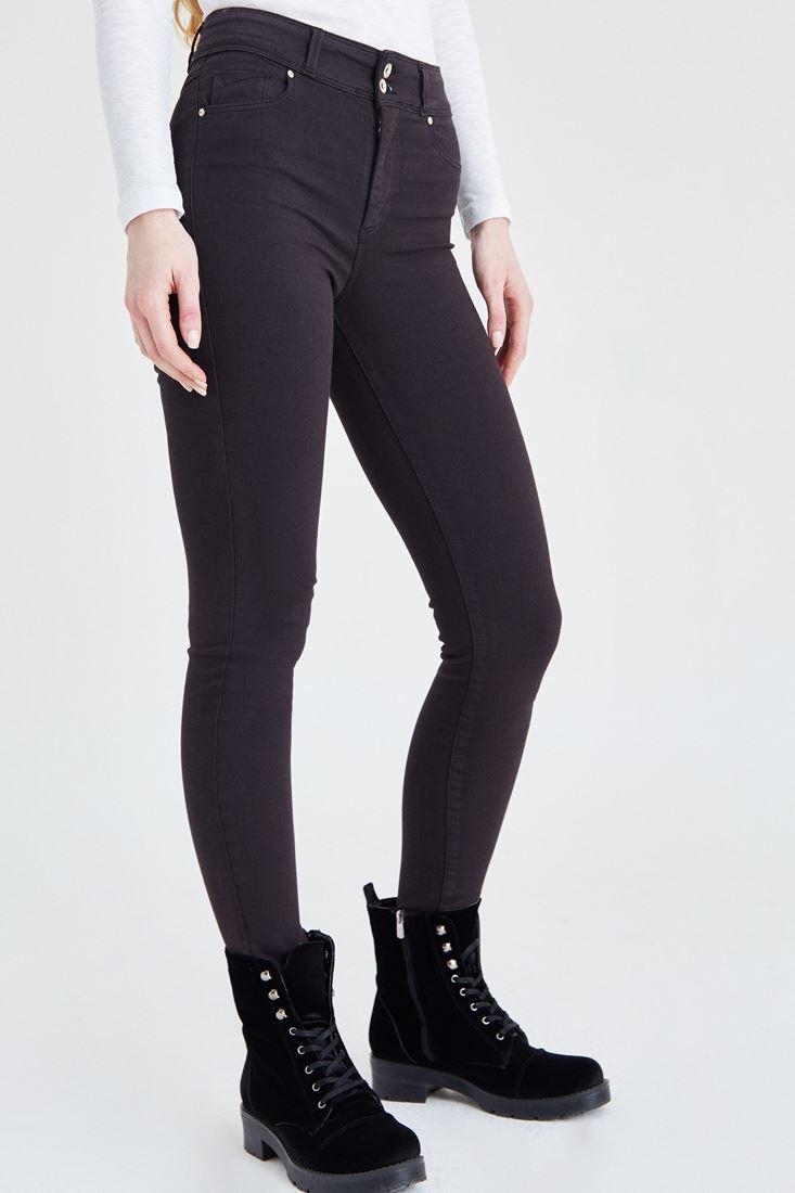 Gri Yüksek Bel Esnek Pantolon
