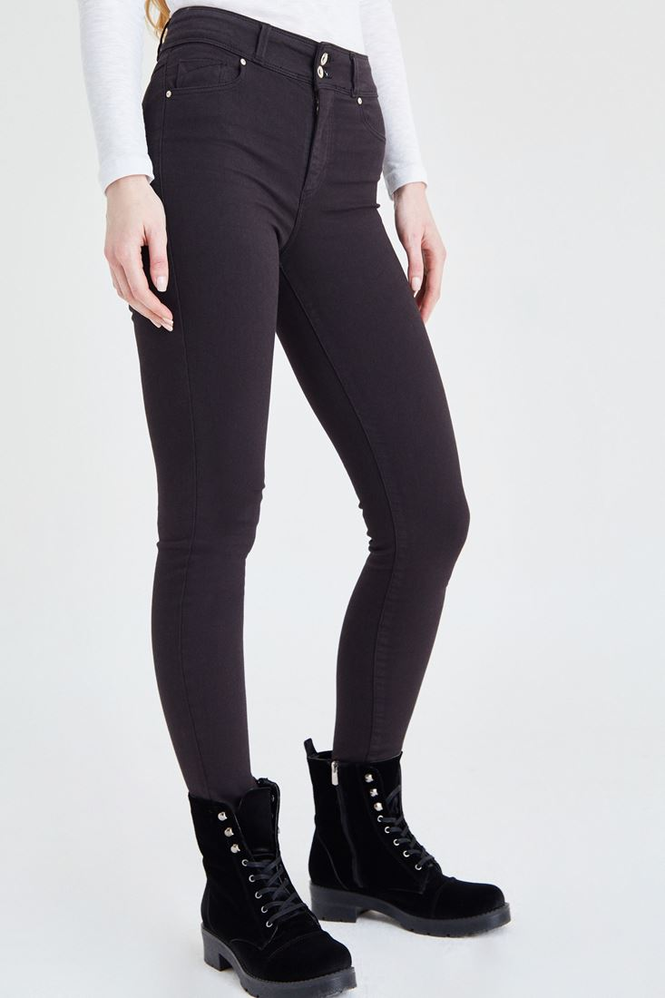 Bayan Gri Yüksek Bel Esnek Pantolon