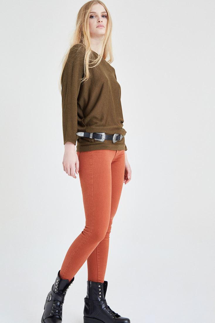 Turuncu Yüksek Bel Esnek Pantolon