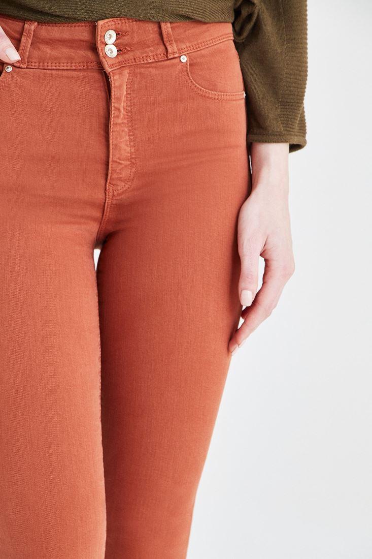 Bayan Turuncu Yüksek Bel Esnek Pantolon