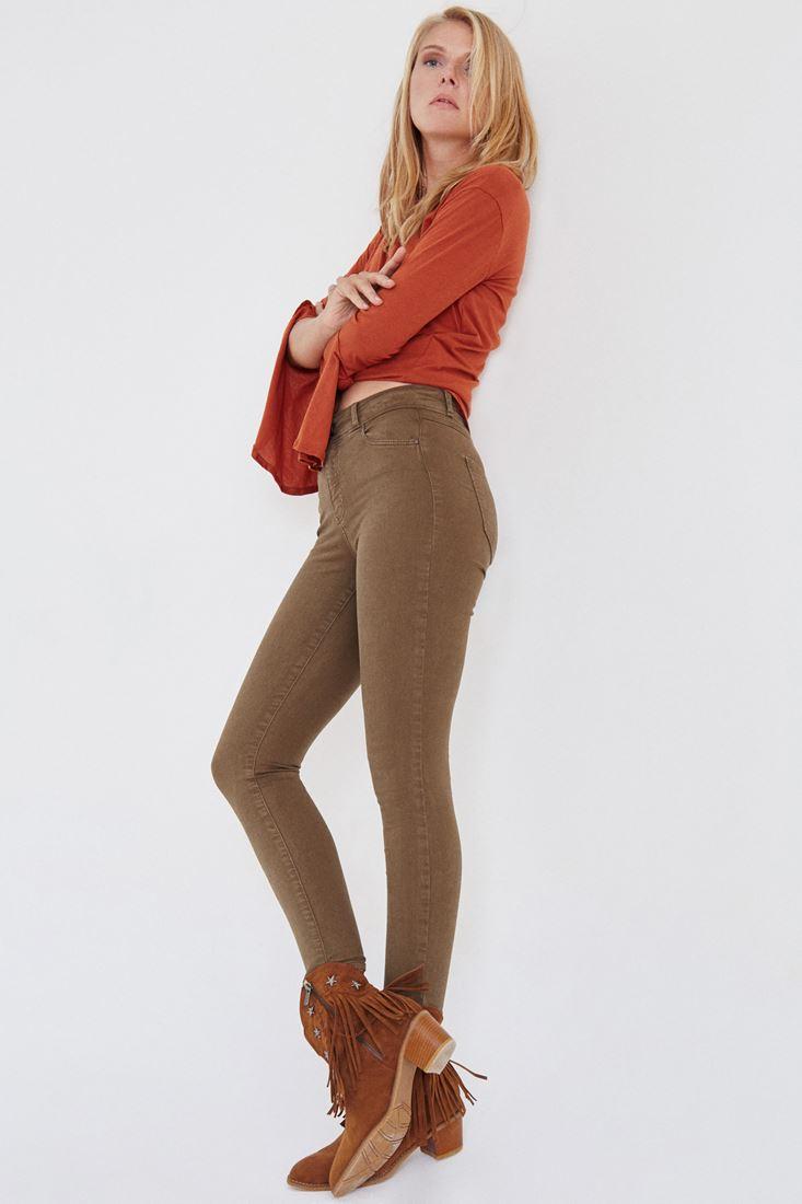 Bayan Yeşil Yüksek Bel Esnek Pantolon