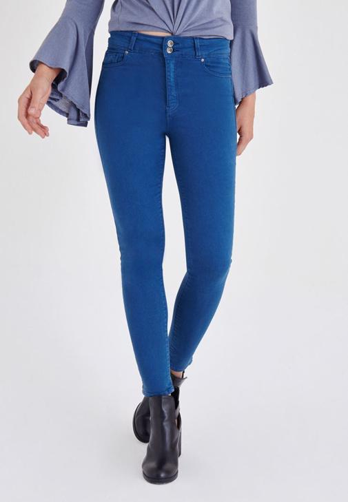 Mavi Yüksek Bel Esnek Pantolon