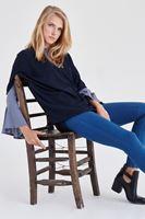Bayan Mavi Yüksek Bel Esnek Pantolon