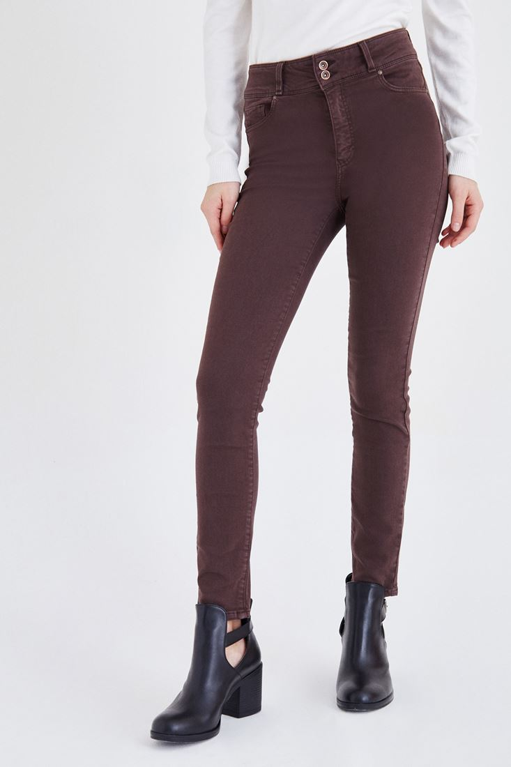 Kahverengi Yüksek Bel Esnek Pantolon