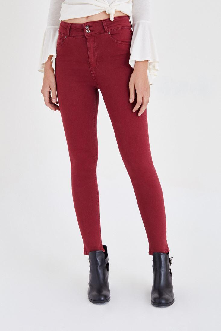Bayan Bordo Yüksek Bel Esnek Pantolon