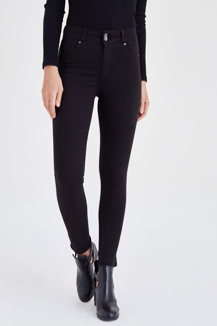 Bayan Siyah Yüksek Bel Esnek Pantolon