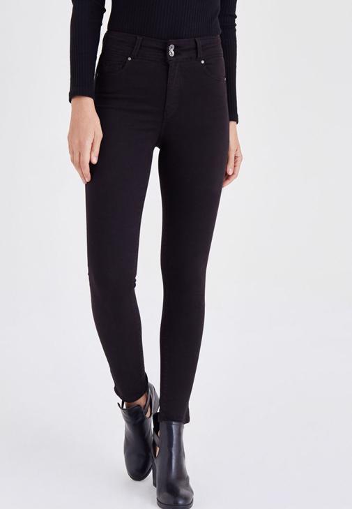 Siyah Yüksek Bel Esnek Pantolon