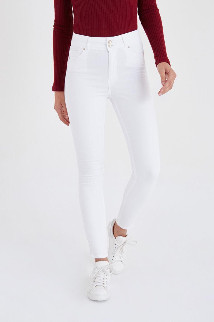 Beyaz Yüksek Bel Esnek Pantolon
