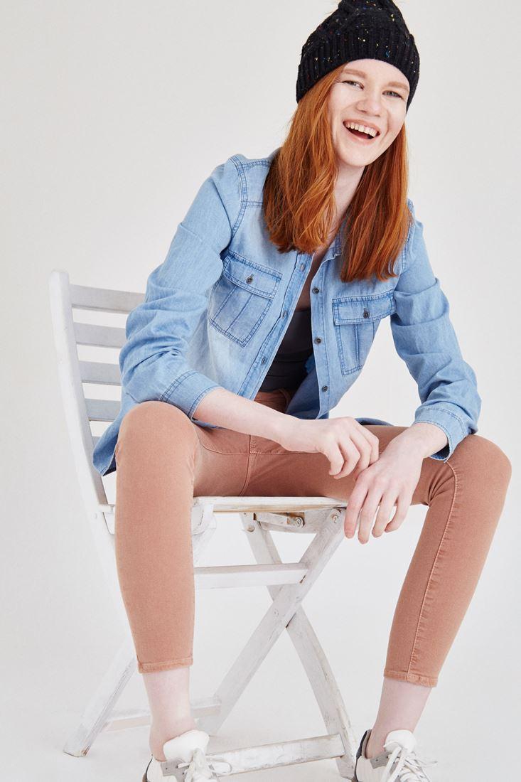 Bayan Kahverengi Düşük Bel Skinny Pantolon