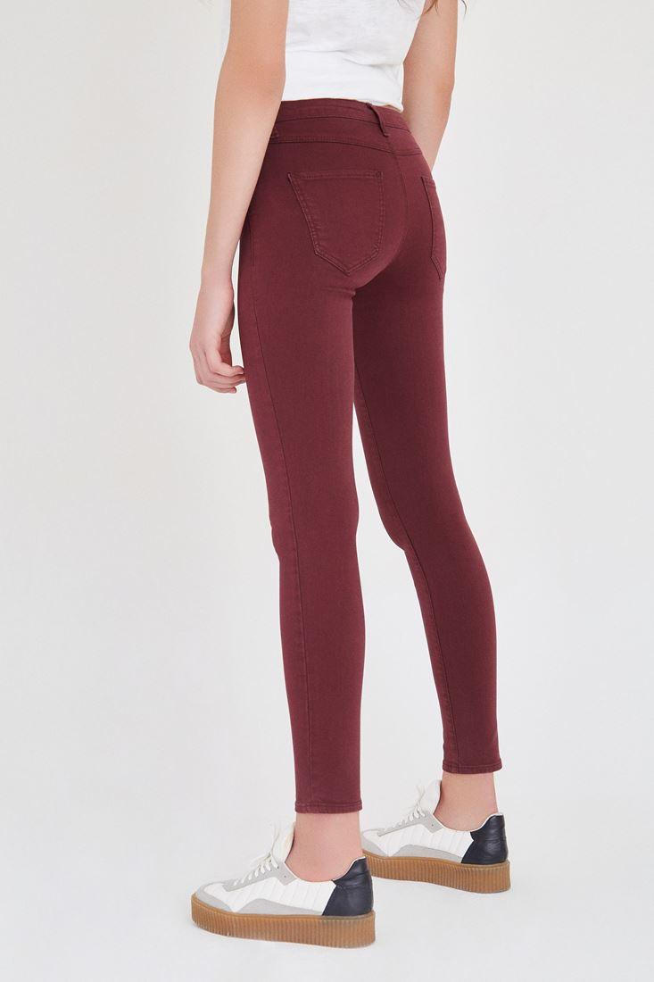 Bayan Bordo Düşük Bel Skinny Pantolon