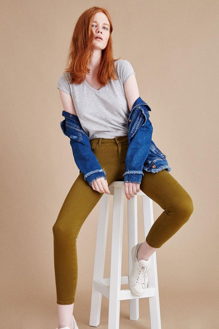 Yeşil Düşük Bel Skinny Pantolon
