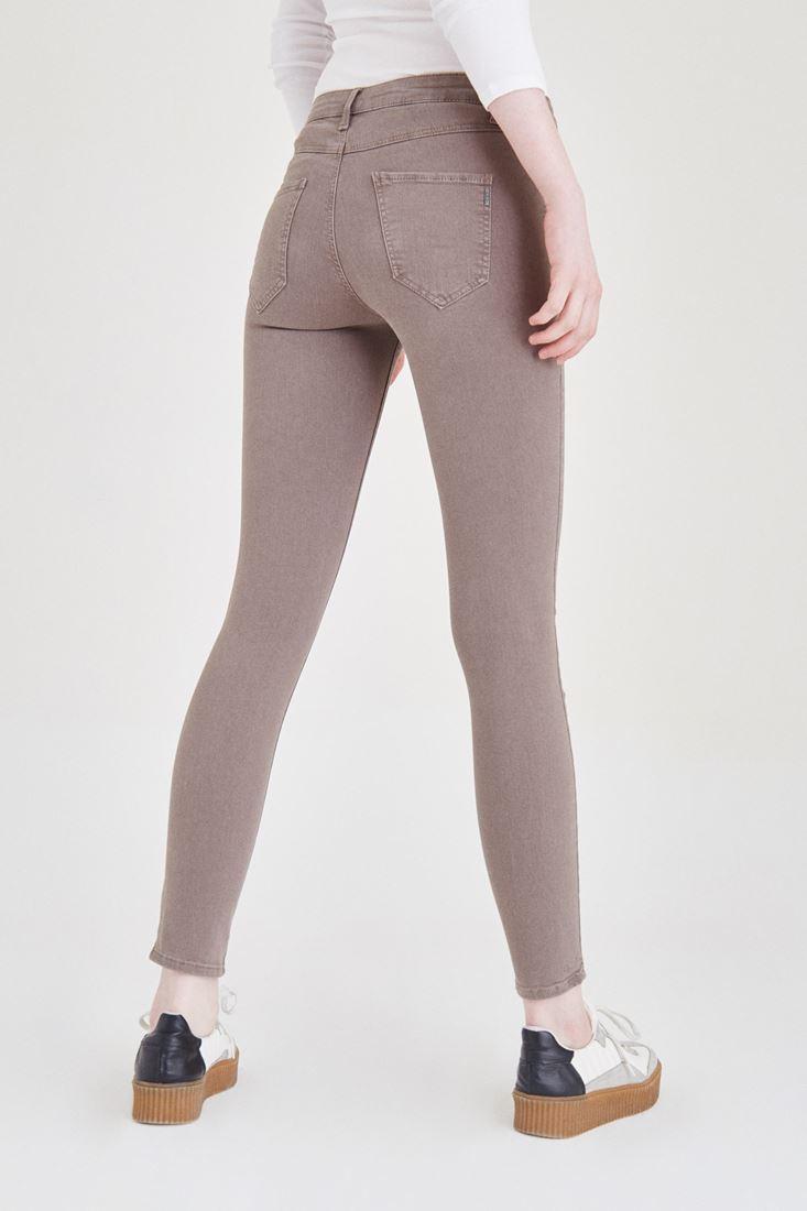 Bayan Gri Düşük Bel Skinny Pantolon