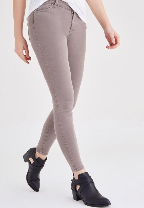 Kahverengi Düşük Bel Skinny Pantolon