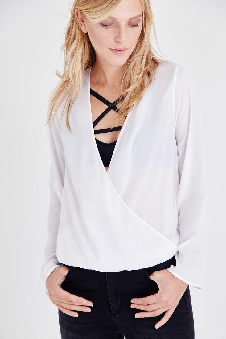 Bayan Krem Kruvaze Dökümlü Bluz