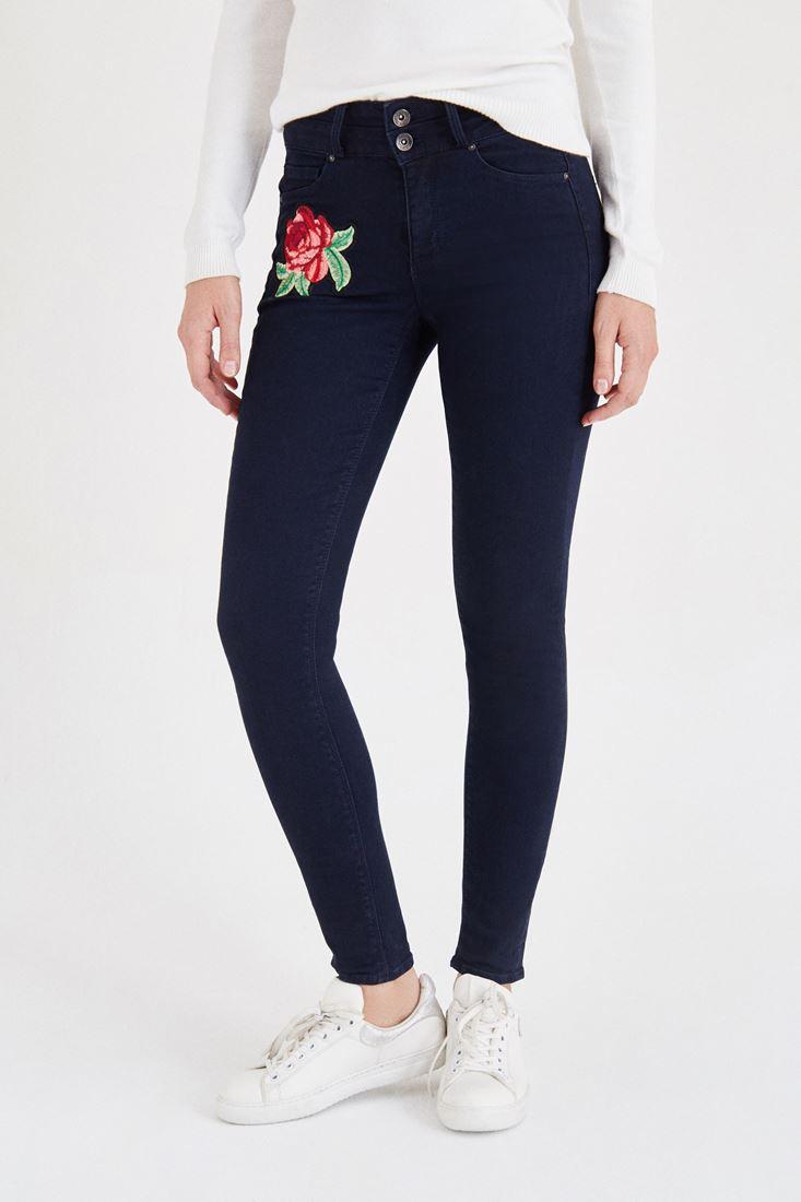 Mavi Nakış Detaylı Dar Paça Pantolon