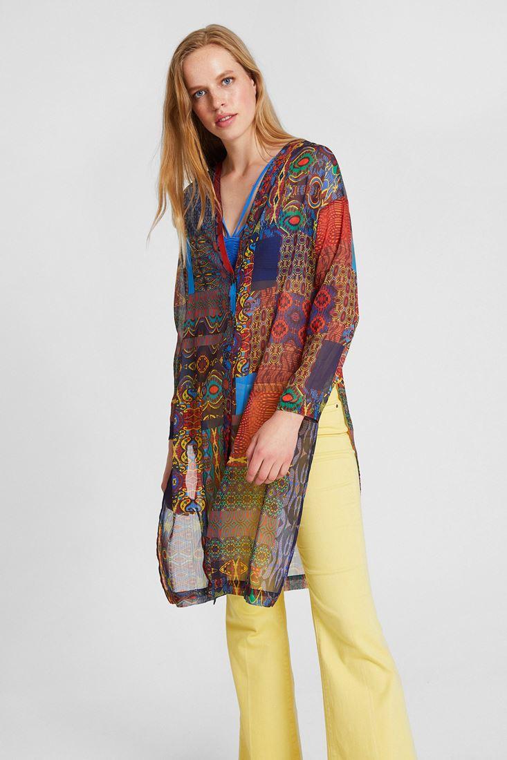 Çok Renkli Çiçek Desenli Şifon Ceket