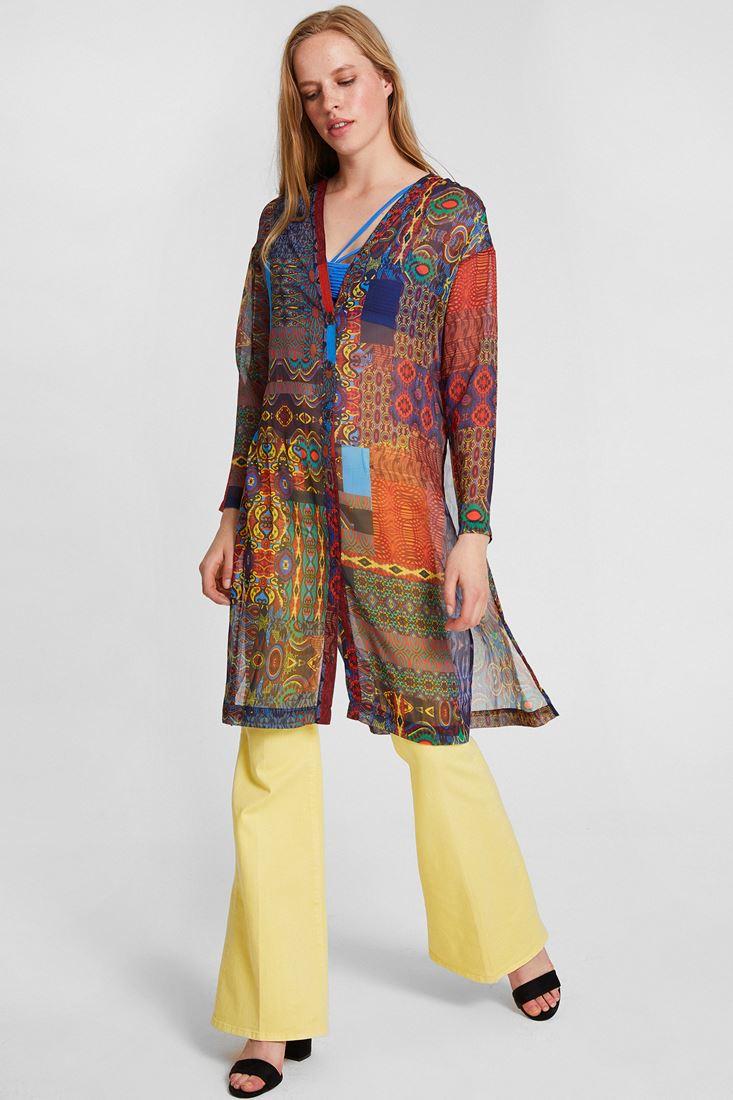 Bayan Çok Renkli Çiçek Desenli Şifon Ceket