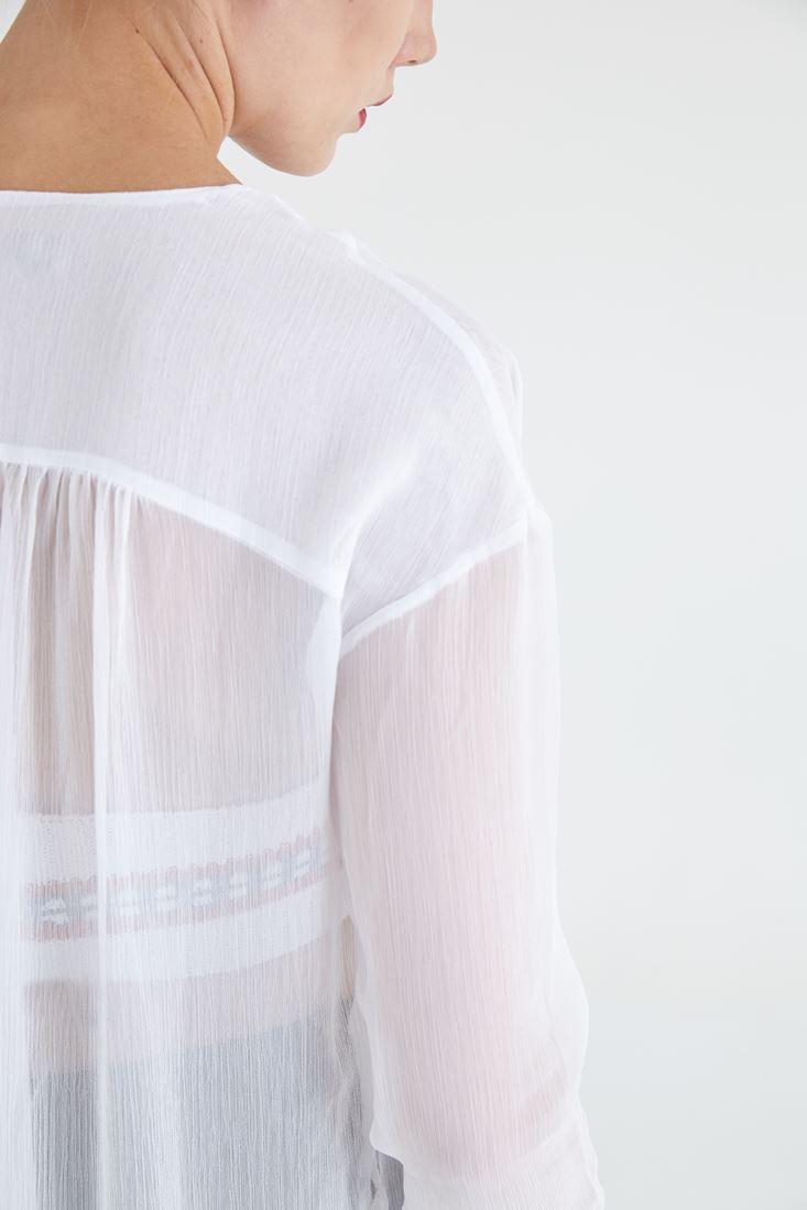 Bayan Beyaz Şifon Uzun Gömlek