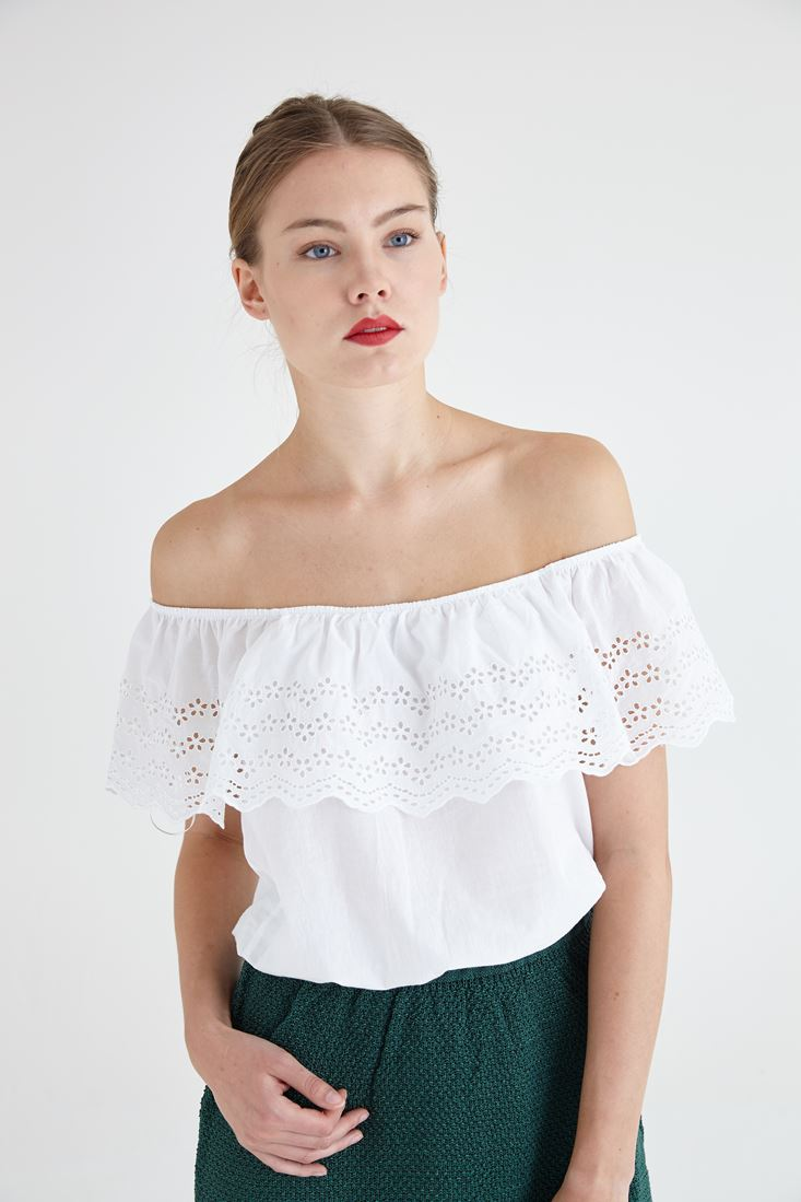 White Purl Detailed Blouse