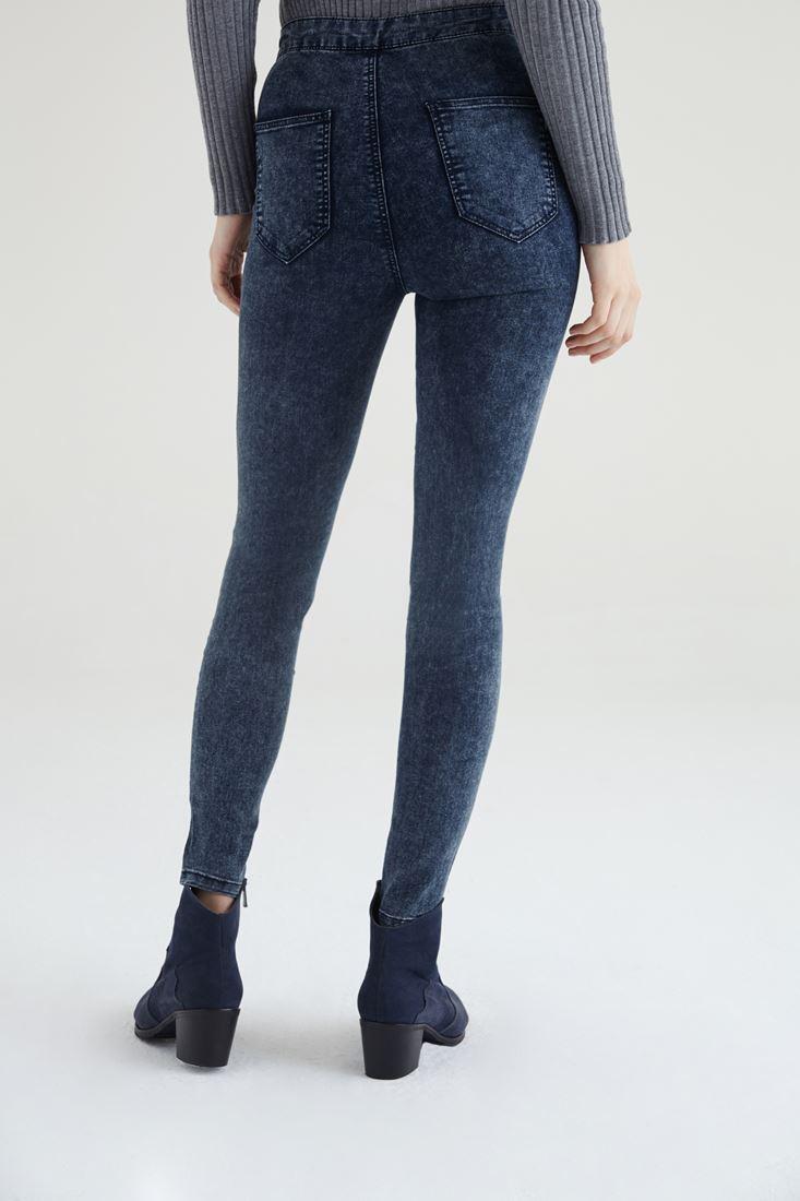 Bayan Lacivert Yüksek Bel Skinny Pantolon