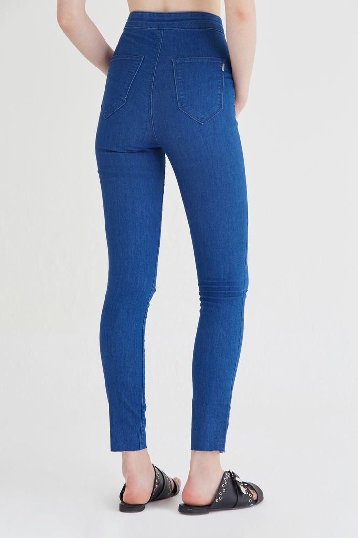 Bayan Mavi Yüksek Bel Skinny Pantolon
