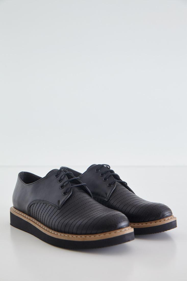 Siyah Çizgi Detaylı Deri Görünümlü Ayakkabı