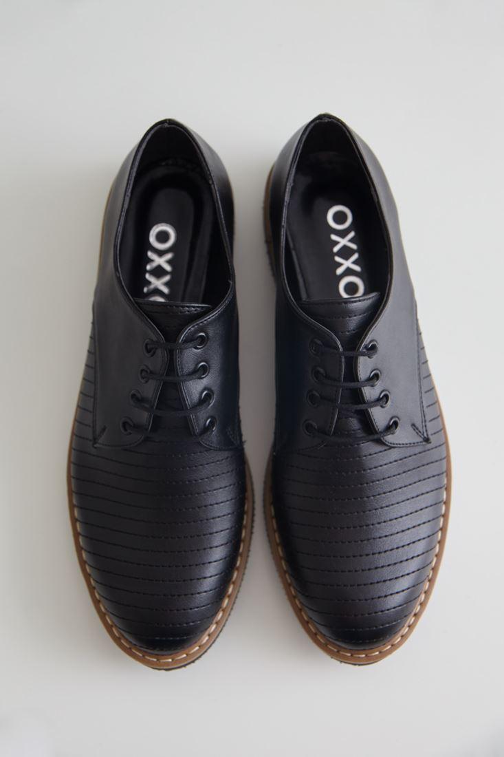 Bayan Siyah Çizgi Detaylı Deri Görünümlü Ayakkabı