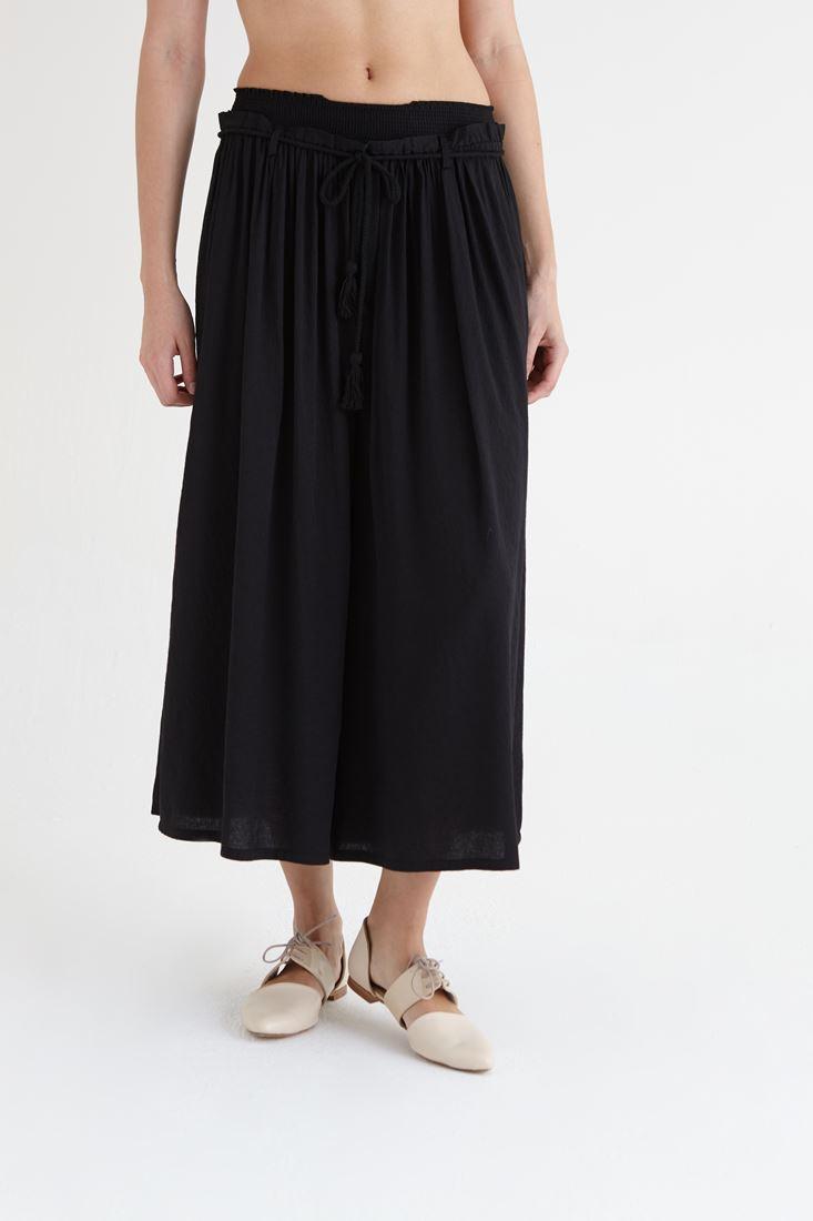 Bayan Siyah Beli Lastikli Bol Kesim Pantolon