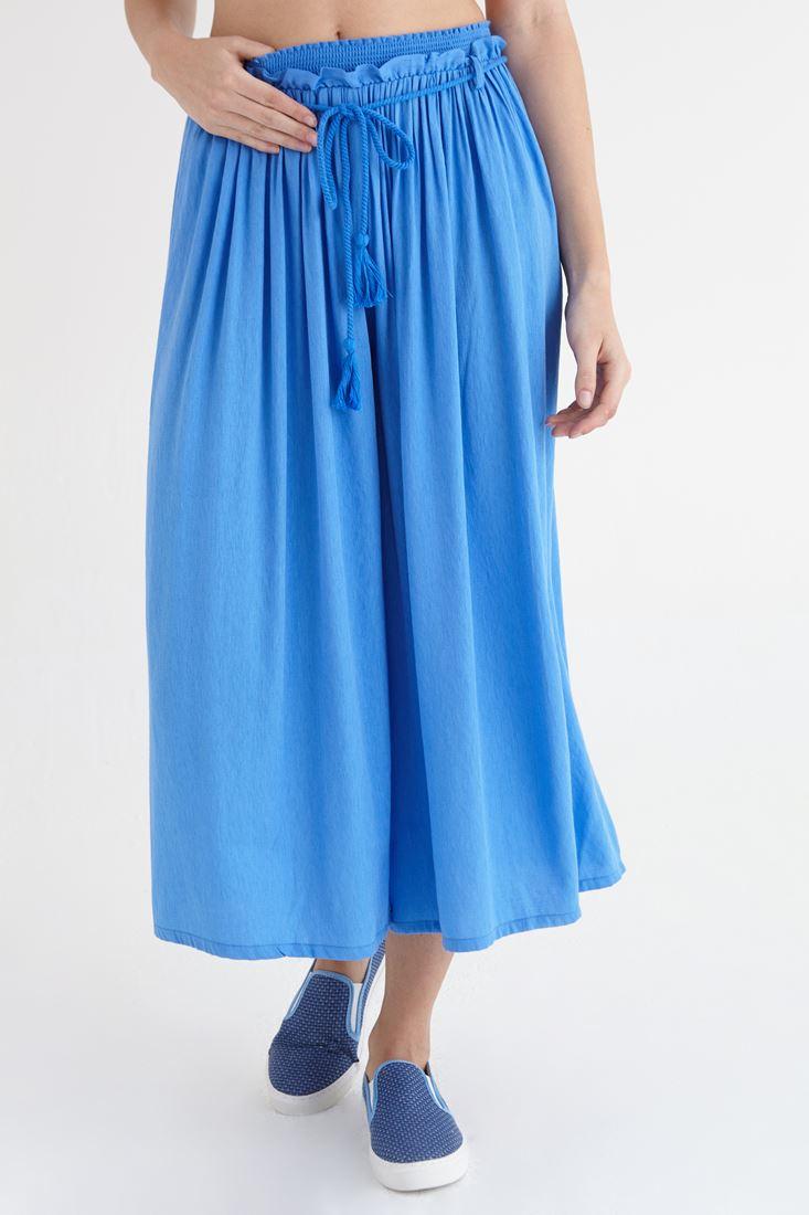 Mavi Beli Lastikli Bol Kesim Pantolon