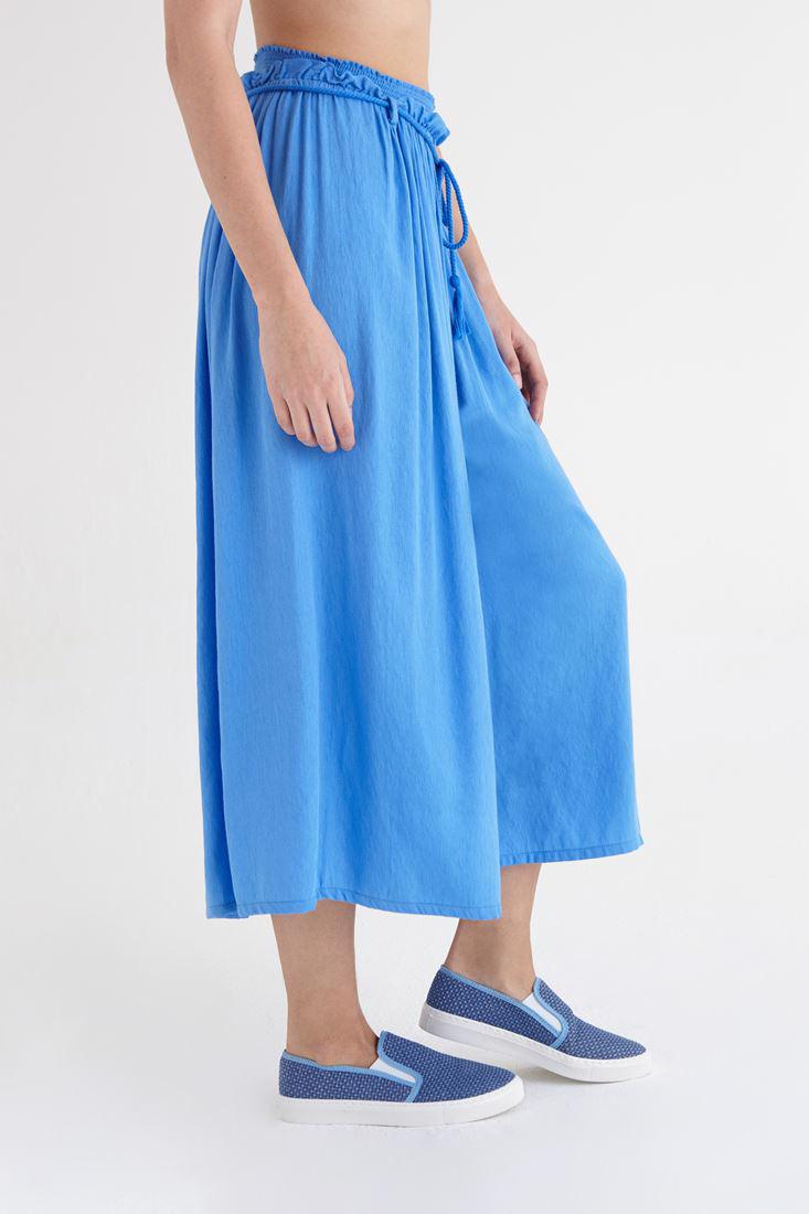 Bayan Mavi Beli Lastikli Bol Kesim Pantolon