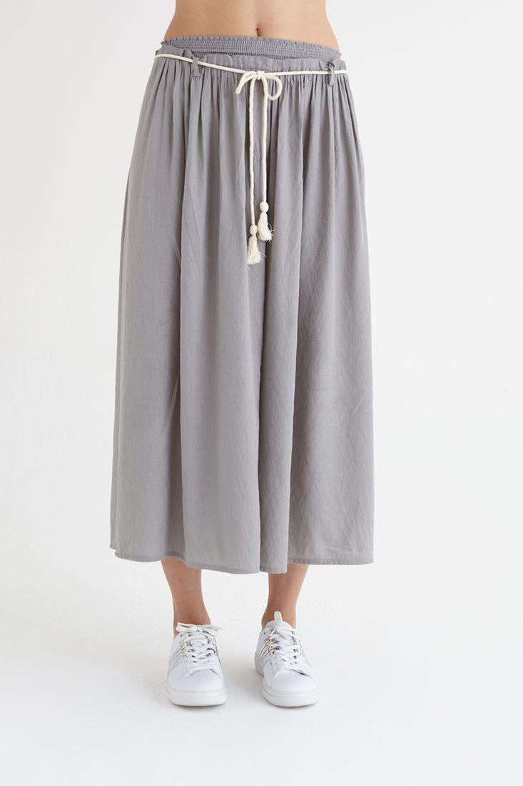 Gri Beli Lastikli Bol Kesim Pantolon
