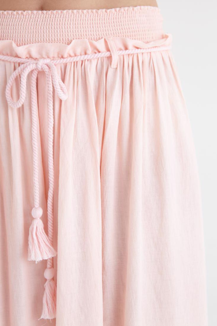 Bayan Pembe Beli Lastikli Bol Kesim Pantolon