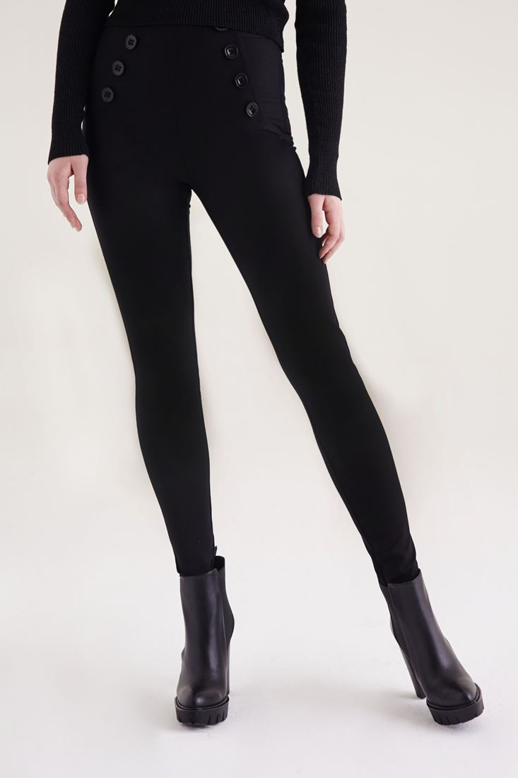 Siyah Düğme Detaylı Skinny Pantolon