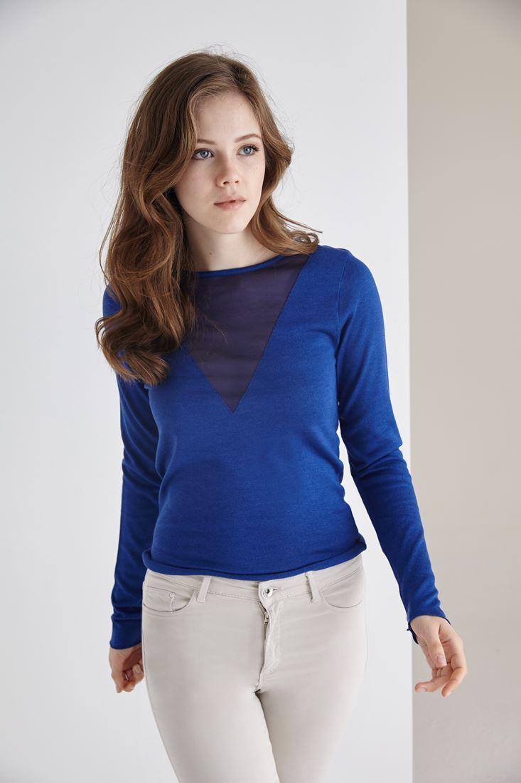 Bayan Mavi Transparan Yaka Detaylı İnce Triko