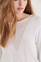 Bayan Beyaz Transparan Yaka Detaylı İnce Triko