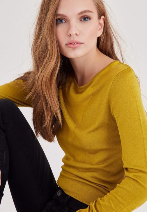 Sarı Transparan Yaka Detaylı İnce Triko
