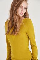 Bayan Sarı Transparan Yaka Detaylı İnce Triko