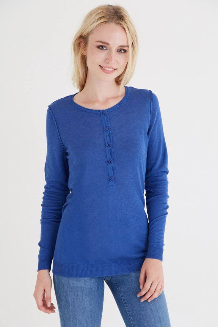 Blue Knitwear With Button Detail