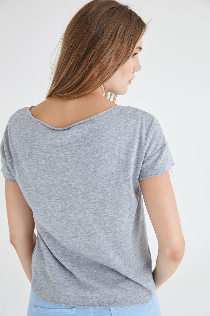 Bayan Gri Kısa Kollu Tişört