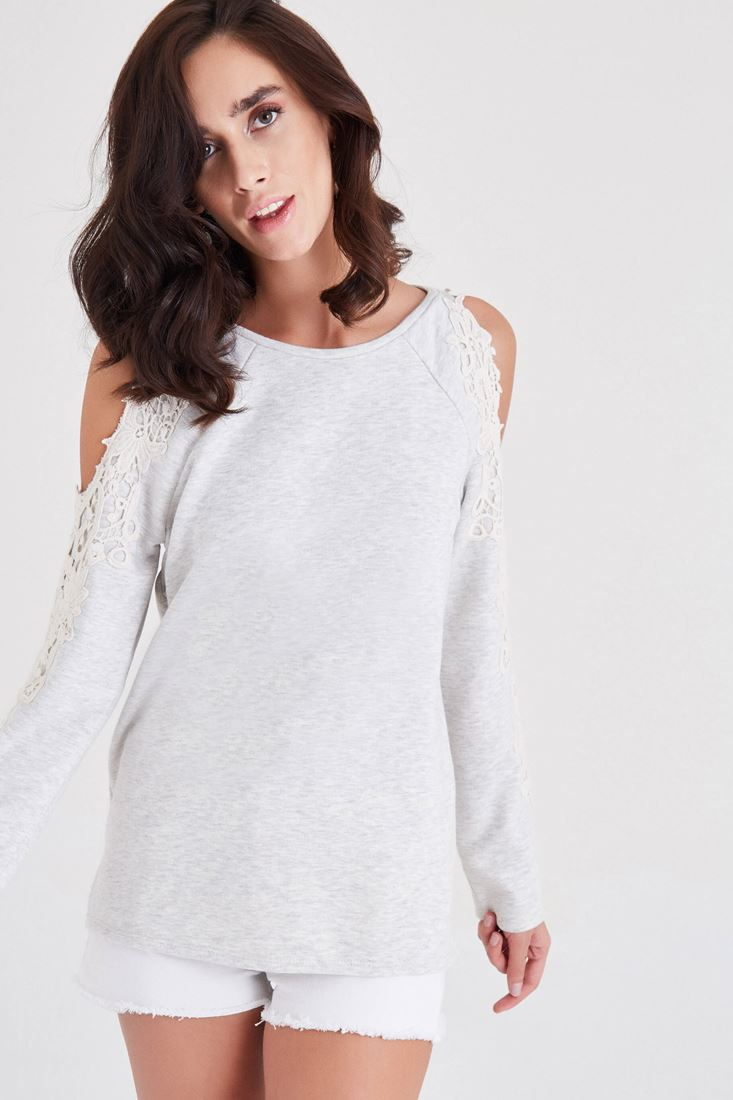 Bayan Gri Omuz Dekolteli Dantel Detaylı Sweatshirt
