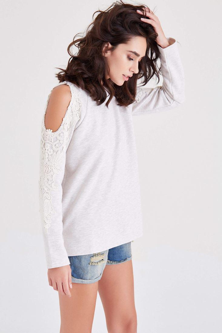 Gri Omuz Dekolteli Dantel Detaylı Sweatshirt