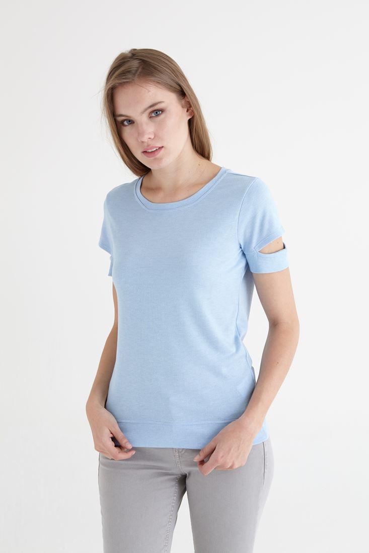 Mavi Kol Detaylı Tişört