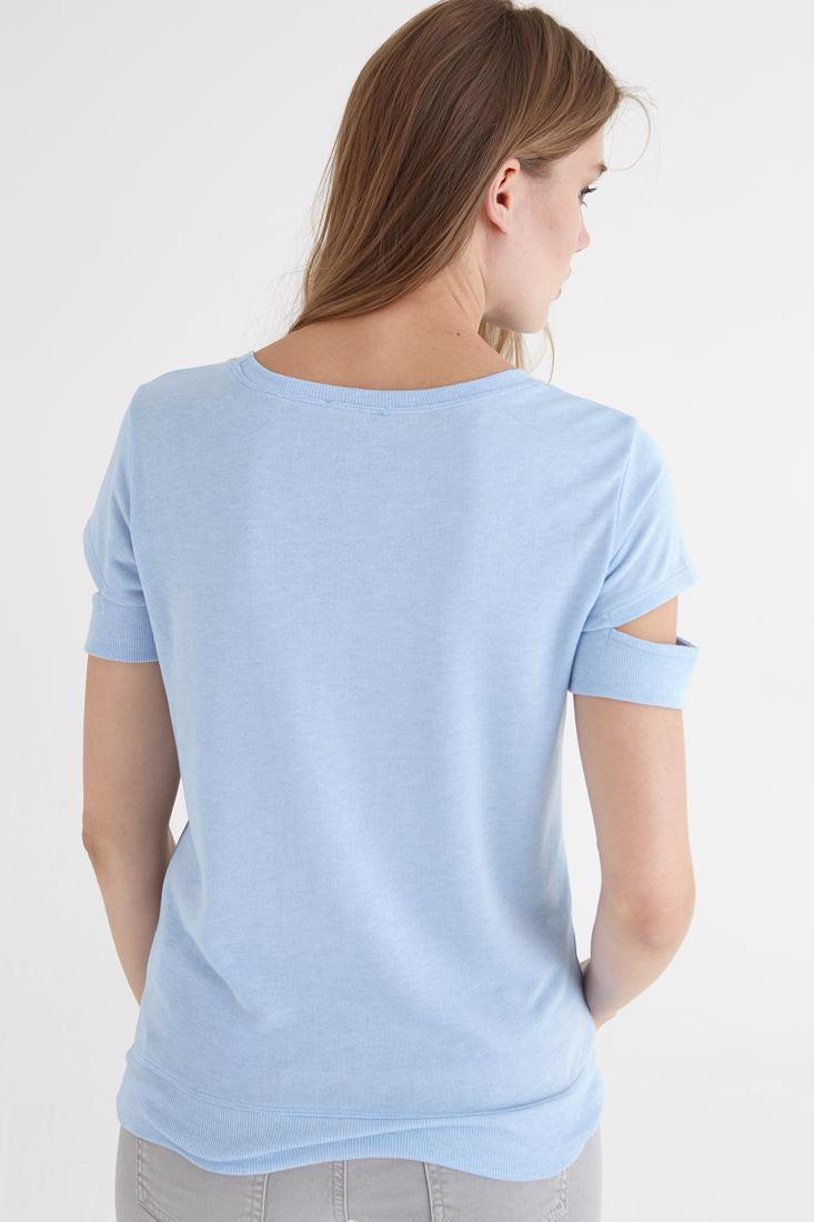 Bayan Mavi Kol Detaylı Tişört