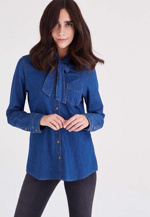 Mavi Yakası Fiyonk Detaylı Kot Gömlek