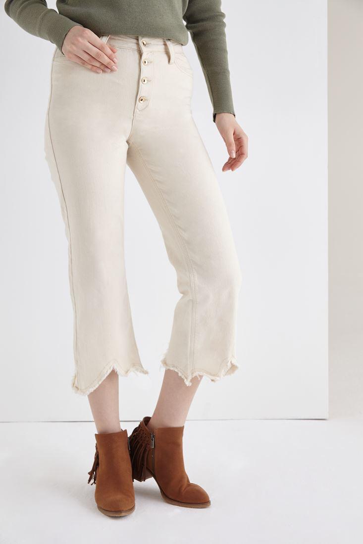 Krem Kısa Paçalı Düğmeli Pantolon