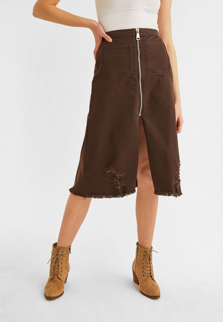 Brown Zippered Detailed Slited Skirt