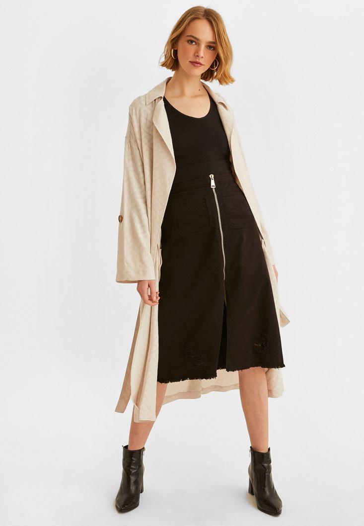 Black Zippered Detailed Slited Skirt