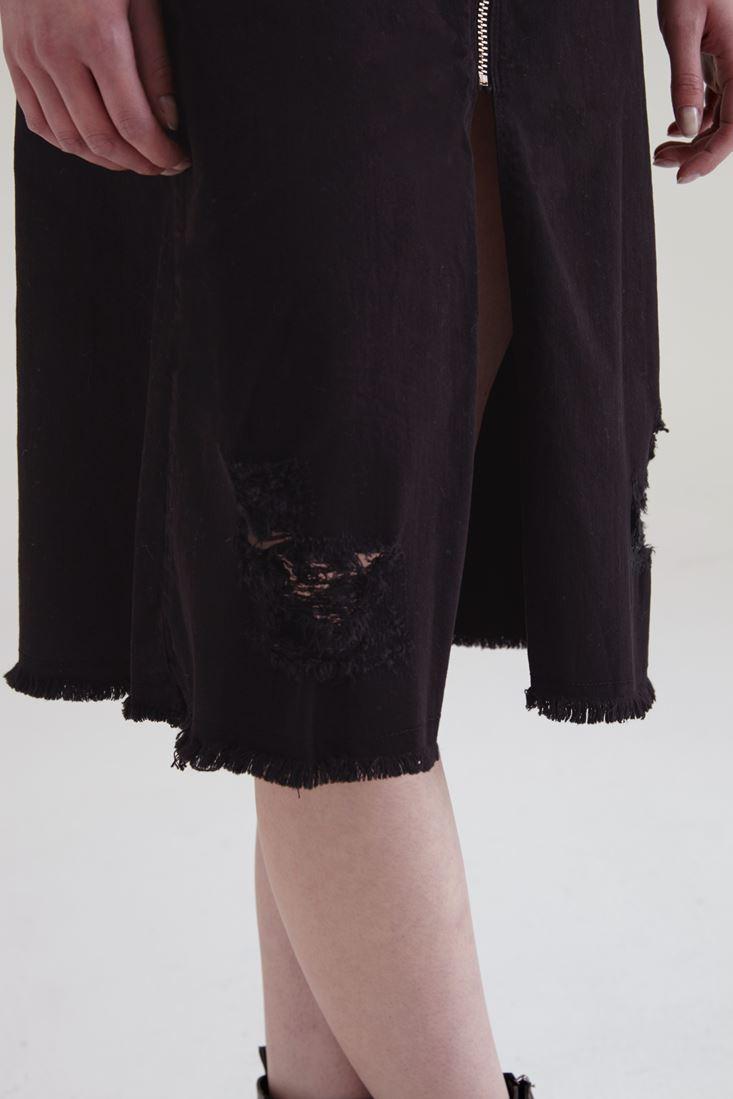 Bayan Siyah Fermuar Detaylı Yırtmaçlı Etek