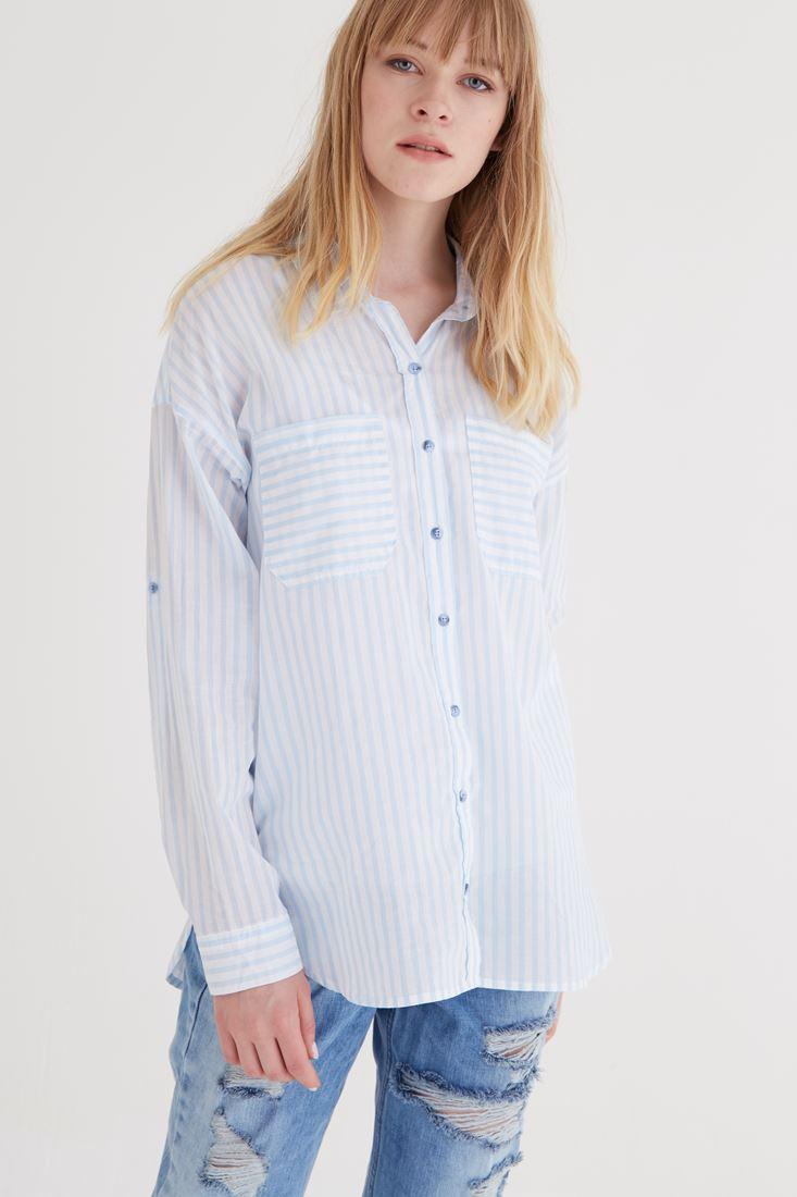 Bayan Mavi Çizgili Gömlek