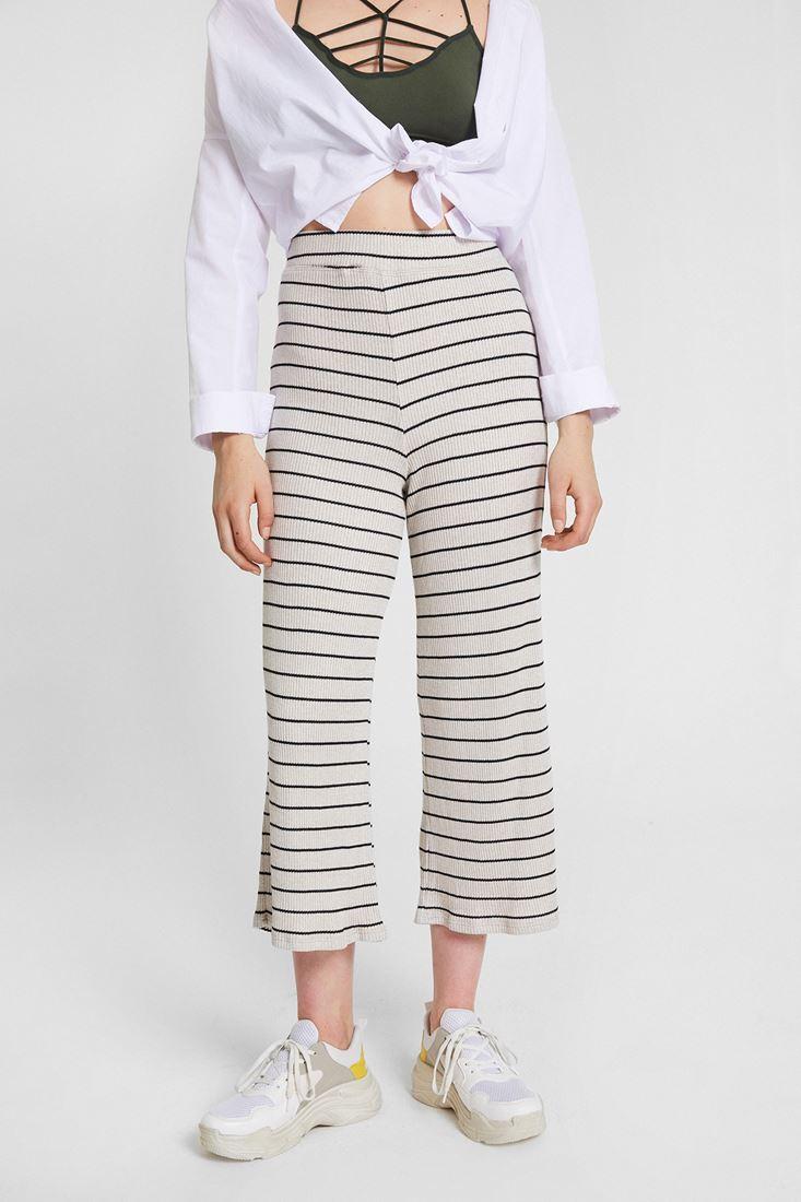 Krem Çizgili Culotte Pantolon